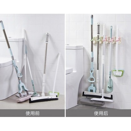 2 Slot Mop Broom Holder Wall Mounted Umbrella Brush Hanger Storage Rack Clean Tool Hooks (C006-1090) 99PERFECT