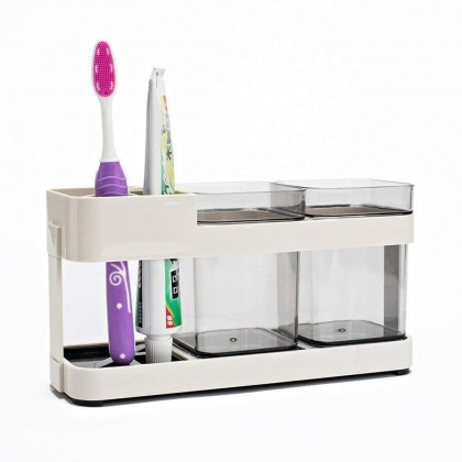 2 Cups Toothbrush Holder Stand Toothpaste Storage Rack Storage Organizer (BC28-0149) 99PERFECT