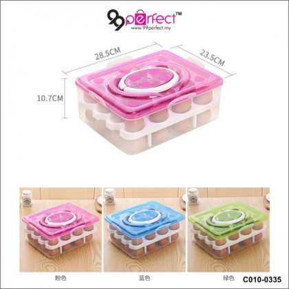 2 Layer (32 Pcs) Egg Tray with Cover Egg Storage Egg Container with Handle (C010-0335) 99PERFECT