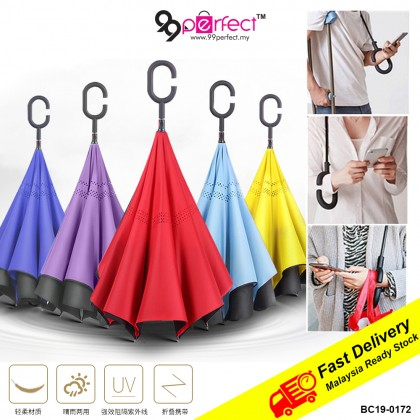 C-Type Handle Upside Down Reversible Umbrella Car Use Easy Reversed Inverted Double Layer Umbrella (BC19-0172) 99PERFECT