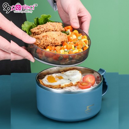 1500ml Multifunction Large Capacity 304 Stainless Steel Instant Noodle Bowl with Lid and Handle (BC19-0339) 99PERFECT