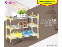 3 Layer Round Tube Stainless Steel Shoe Rack