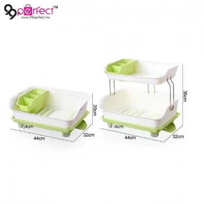 2 Layer Dish Drainer Drying Storage Rack