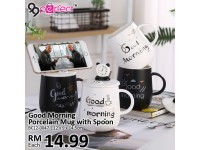 Good Morning Porcelain Mug with Spoon