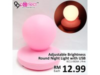 Adjustable Brightness Round Night Lamp with USB