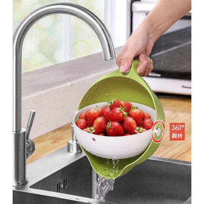 2 IN 1 Kitchen Plastic Mesh Strainer Drain Basket Drainer Rolling Colander Sieve Pot Rice Fruits Vegetable Wash Basin (BC19-0115) 99PERFECT