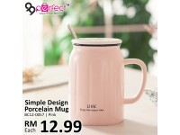 Simple Design Porcelain Mug with Spoon