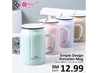 Simple Design Porcelain Mug with Spoon