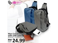 Charging USB Port Crossbody Shoulder Sling Bag