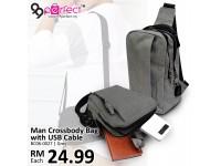 Charging USB Port Crossbody Shoulder Sling Bag