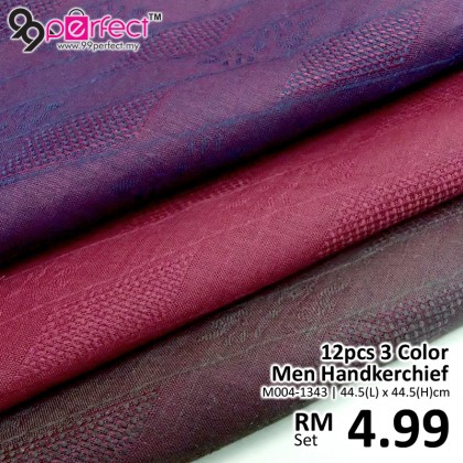 12pcs 3 Color Silk Men Handkerchief