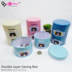 Double Layer Cylinder Couple Cartoon Money Saving Box