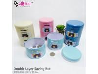 Double Layer Cylinder Couple Cartoon Money Saving Box