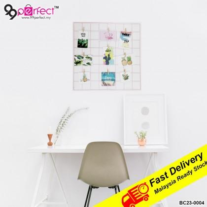 48cmx48cm Multifunctional Iron Grid Photo Frame Wall Hanging Home Decoration DIY Storage Rack