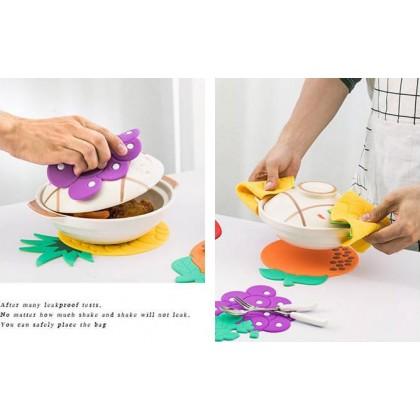 2 in 1 Insulation Anti-Slip Heat Pad Coaster Bowl Pan Place Mat Design Fruit