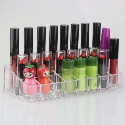 24-Slot Clear Acrylic Lipstick Display Holder Stand Cosmetic Organizer Rack Storage Makeup Box Case Container