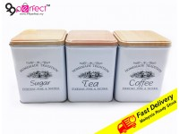 3 IN 1 Metal Box Coffe Sugar Tea Food Storage Container Organizers Home Kitchen