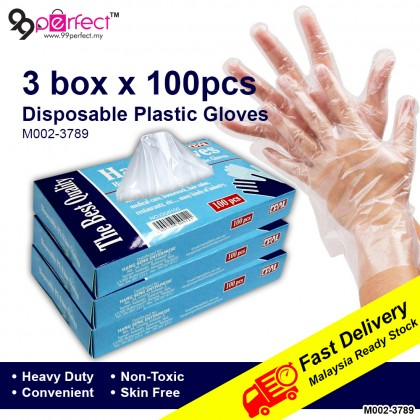 [MALAYSIA READY STOCK] 3 box 100pcs Clear Disposable Polyethylene Gloves for Cooking Cleaning Food Handling