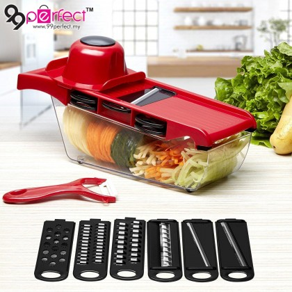 10 in 1 Slicer Vegetable Cutter Grater Chopper Julienne Slicer,Multifunctional  6 Interchangeable Blades With Peeler, Hand Protector, Food Storage Container