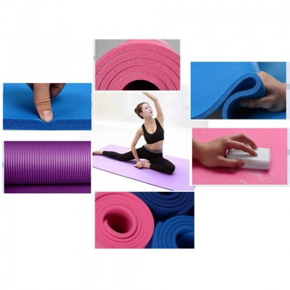 183cmx61cm Yoga Mat Extra Thick 6MM Non-Slip Anti-Skid Mat Home Gym Workout Exerciser Free Carry Strap (BC24-0004) 99PERFECT