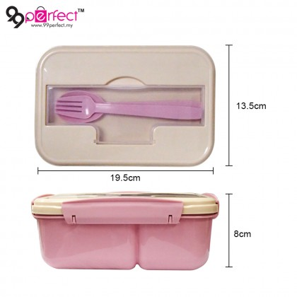 1100ml BPA Free 2 Compartments Food Container Lunch Box with Spoon Fork