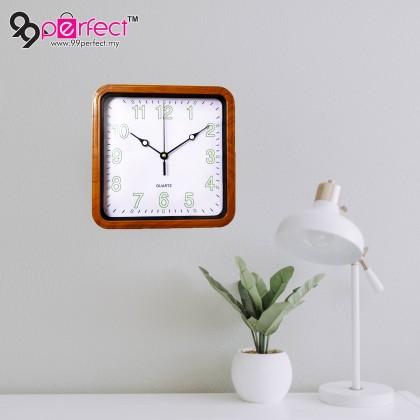 23CM Quartz Wall Clock Silent Moment Square Vintage Modern (BC21-0013) 99PERFECT