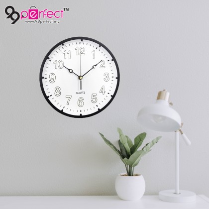 25.5CM Quartz Wall Clock Silent Moment Round Vintage Modern (BC21-0037) 99PERFECT